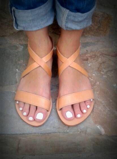 Genuine Greek Leather Flat sandals in natural by madammeshushu