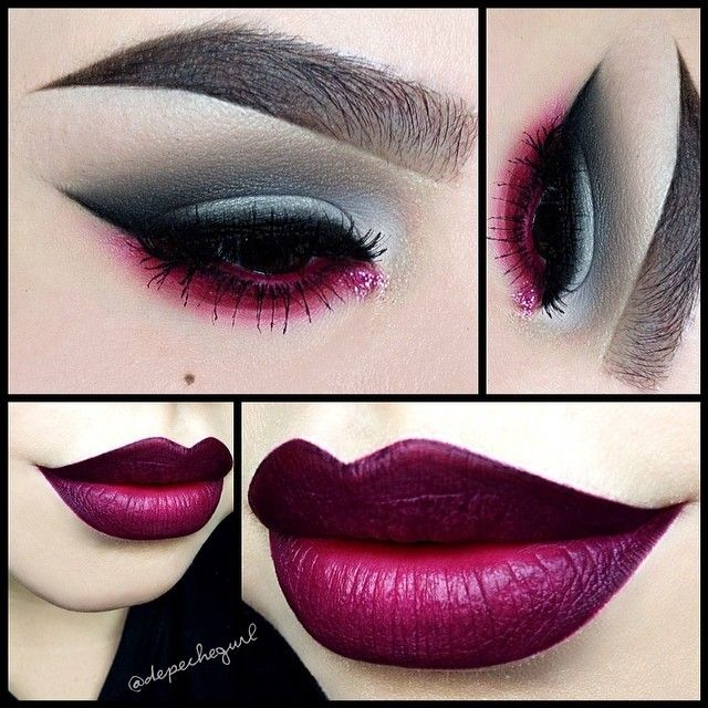 """Lips - @NYX Cosmetics New Soft Matte Lip Creams in """"Transylvania,"""" """"Copenhagen,"""" & """"Prague"""" with @Obsessive Compulsive Cosmetics """"Black Dahlia"""" Lip Liner (I love it! It's so creamy). Eyes - MAC Eyeshadows in """"Copperplate,"""" """"Brun,"""" """"Carbon,"""" & """"Blanc Type."""" NYX Matte Eyeshadow in """"Craving."""" For the lower lash line I used Stila """"Deep Fuchsia"""" Eyeliner smoked out with NYX Primal Colors Eyeshadow in """"Hot Fuchsia,"""" and Sephora """"Fuchsia"""" Glitter@ depechegurl-"""