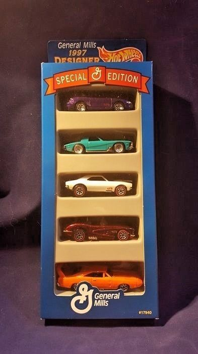NIP Hot Wheels 1997 General Mills Designer Collection 5 Diecast Car Set #17940 #HotWheels