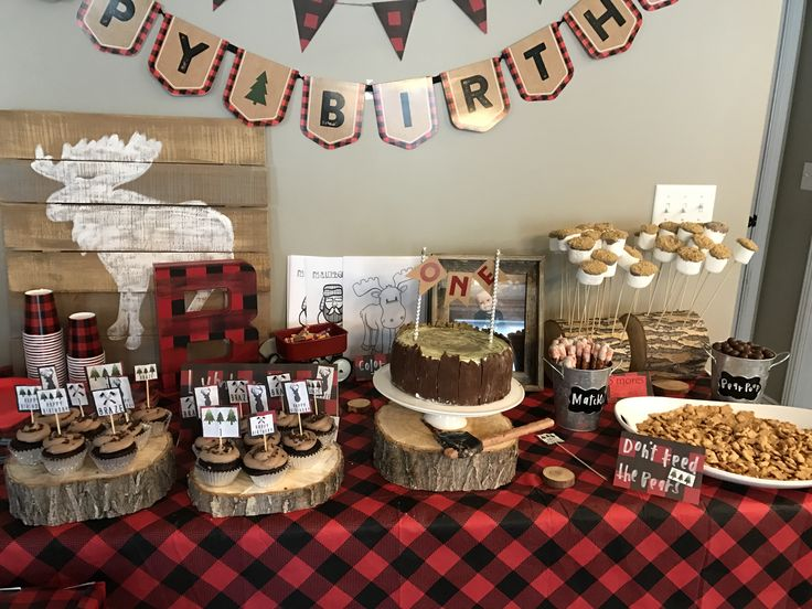 Brazes lumber jack first birthday party