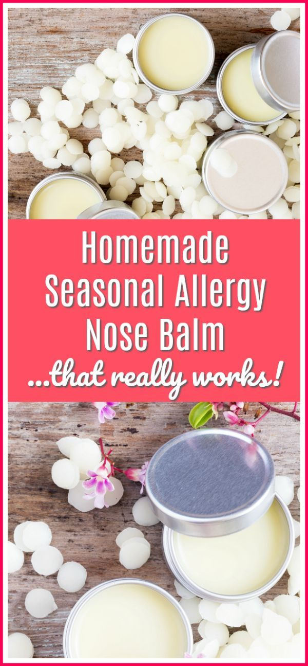 This homemade seasonal allergy nose balm really does work - put it on before bed and wake up with no congestion!