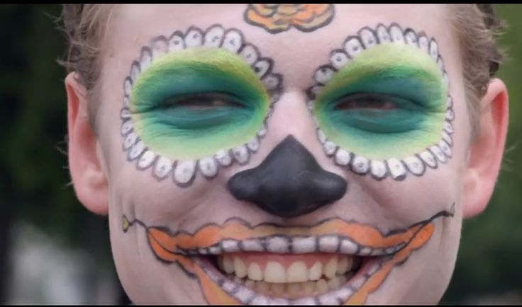 Pretty Sugar Skull Boy, Green and orange, smiley From the music video, Prayer In C - Robin Schulz & Lilly Wood & The Prick