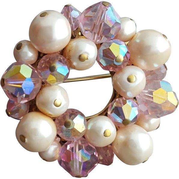1960s Pink Crystal and Faux Pearl Brooch Sparkling Circle -- found at www.rubylane.com #vintagebeginshere