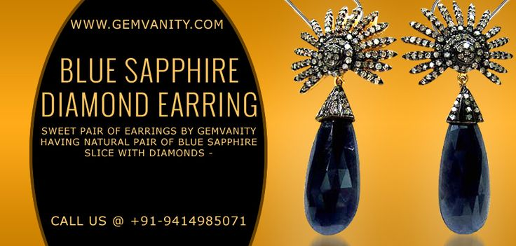 Buy Gorgeous Blue Sapphire Diamond Earring From Gemvanity