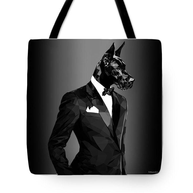 Black Great Dane Dog Art Tote Bag 23.50 on http://pixels.com/products/black-great-dane-1-filip-aleksandrov-tote-bag.html