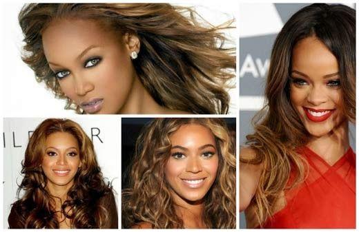 Estilo de cores de cabelo da Beyoncé e Rihanna