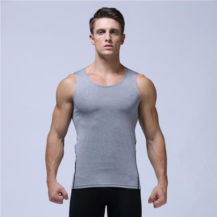 2016 New Tranining Gym Sports T-Shirts Men Quick Dry Flexible Tops Running Mens Tights Fitness Bodybuilding Clothes tank top men