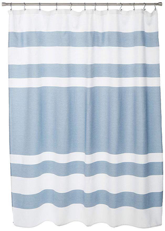 Amazon Com Madison Park Spa Waffle Weave Striped Fabric Shower
