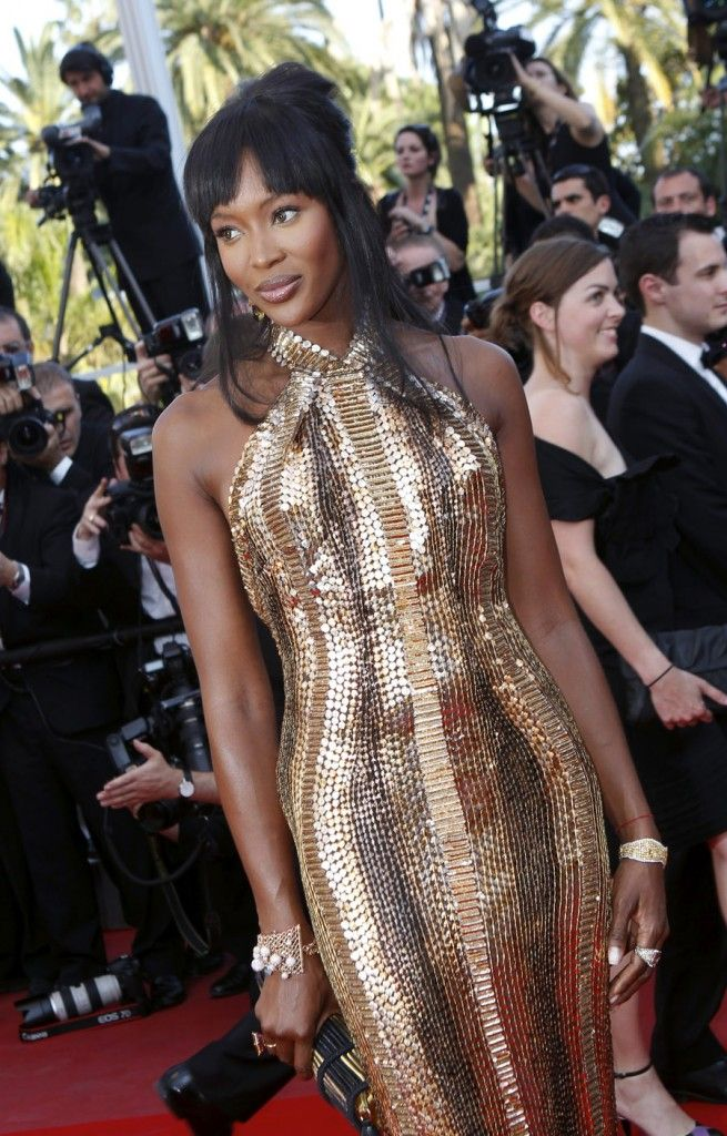 naomi campbell net worth | Naomi Campbell at Cannes in gold mermaid prom dress