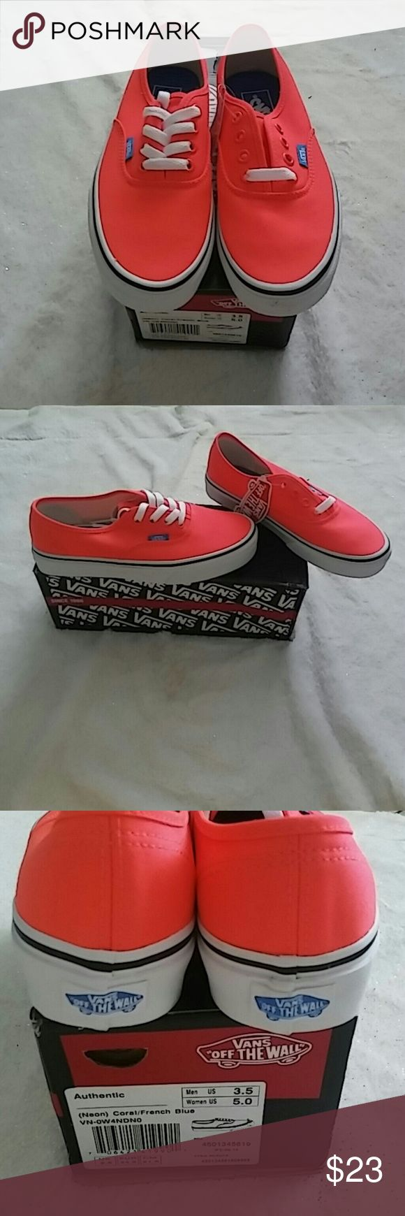Nib womens neon vans This is a new pair of women's size 5 neon Coral and blue Vans Vans Shoes