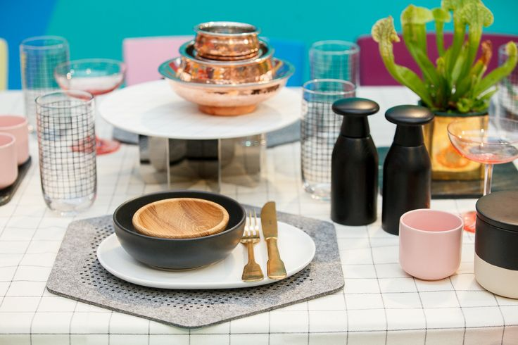 In The Colour Studio. Table cloth, placemat, plates, bowls, glasses and marbel placemat all from Country Road. Gold cutlery from Myer, blush cocktail glasses by Waterford from David Jones, cake stand by George Jensen from David Jones, copper bowls from Wheel and Barrow.