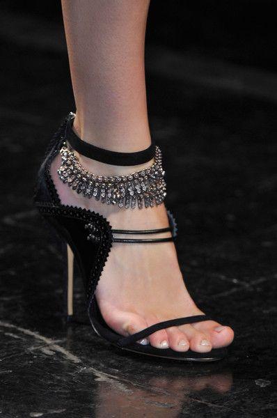 Prabal Gurung Black Sandal with Crystal Ankle Strap 201