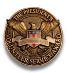 President's Volunteer Service Award Pin - Bronze Level | Criteria: Kids - 50 to 74 hours; Young Adults - 100 to 174 hours; Adults - 100 to 249 hours; Family & Groups - 200 to 499 hours