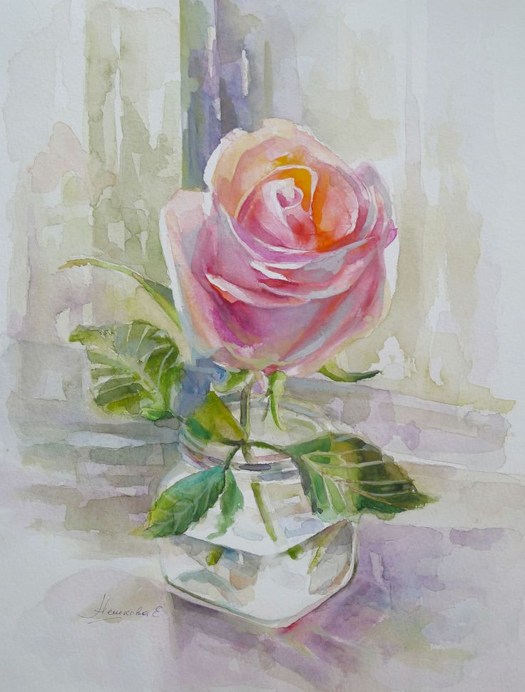 Екатерина Нешкова, Ekaterina Neshkova Art, картина, акварель, роза, rose, watercolor