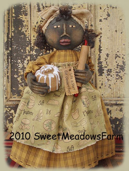 black primitive dolls   The housework doll with the broom and the doll with the laundry are ...