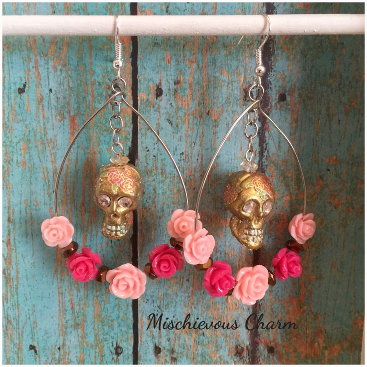 Day of the Dead Dia De Los Muertos Sugar Skull and Roses Earrimgs by MischievousCharm on Etsy https://www.etsy.com/listing/252223680/day-of-the-dead-dia-de-los-muertos-sugar