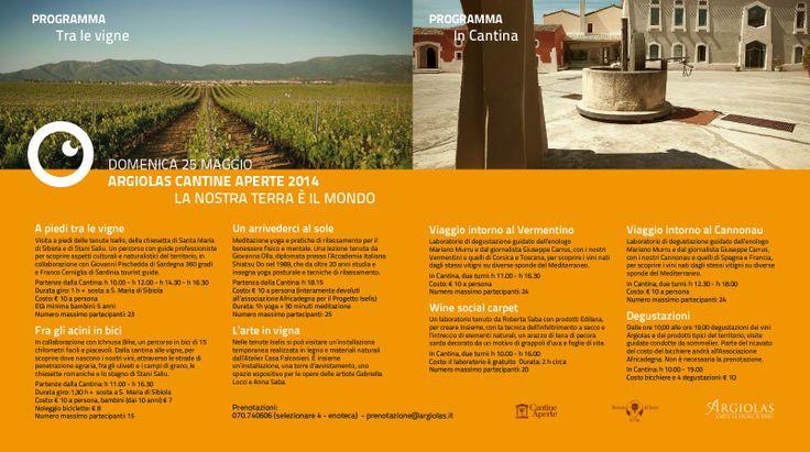 Argiolas, Cantine Aperte 2014. Domenica 25 Maggio - Vini di Sardegna e Cantine - Le Strade del Vino