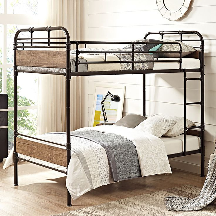 Save space and add a flair of style to your children's bedroom with this twin over twin bunk bed. Designed to fit any bedroom decor and reliably constructed, the powder coated metal and durable wood t