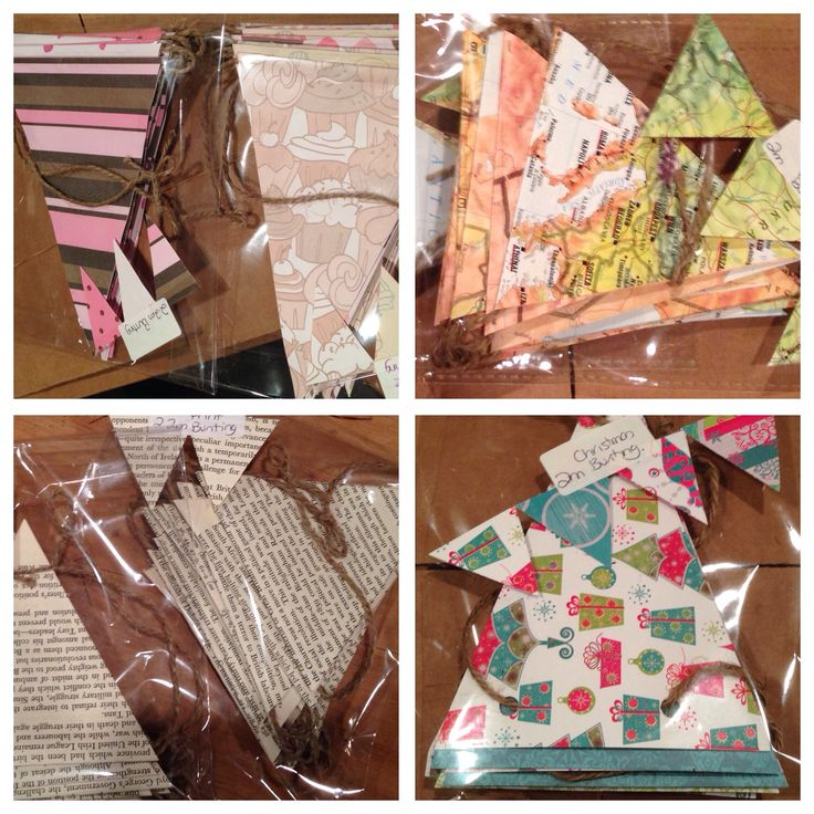Variety of bunting for the fair - using book pages, atlas pages and scrapbooking paper