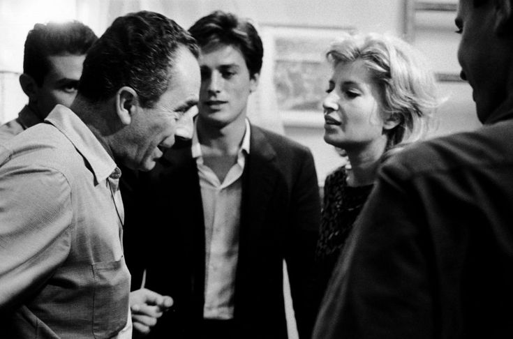 Michelangelo Antonioni, Alain Delon and Monica Vitti on the set of L'Eclisse