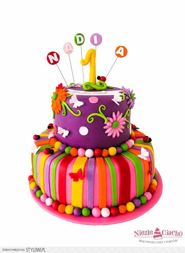 Kolorowy tort dla dziecka, kwiatki, biedronki, paski, torty dziecięce, tort urodzinowy, tort na urodziny, 1 urodziny, pierwsze urodziny, dziecko, Tarnów