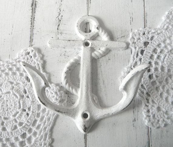 anchor wall hook white nautical hook beach house by ShabbyRoad