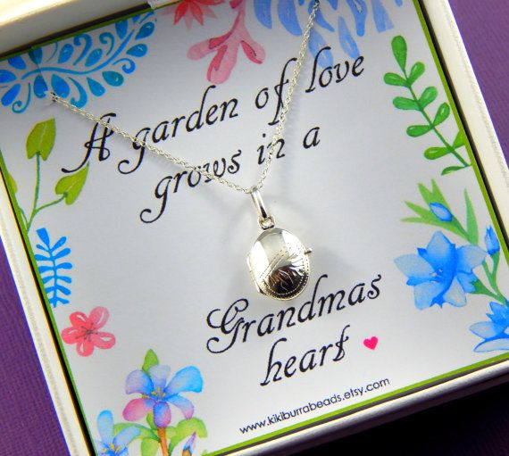 Grandmother Gift Grandmother Necklace Locket by Kikiburrabeads