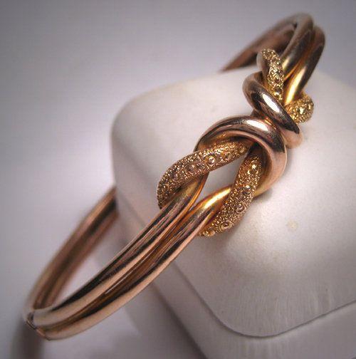 Antique Victorian Gold Bangle Bracelet Vintage English