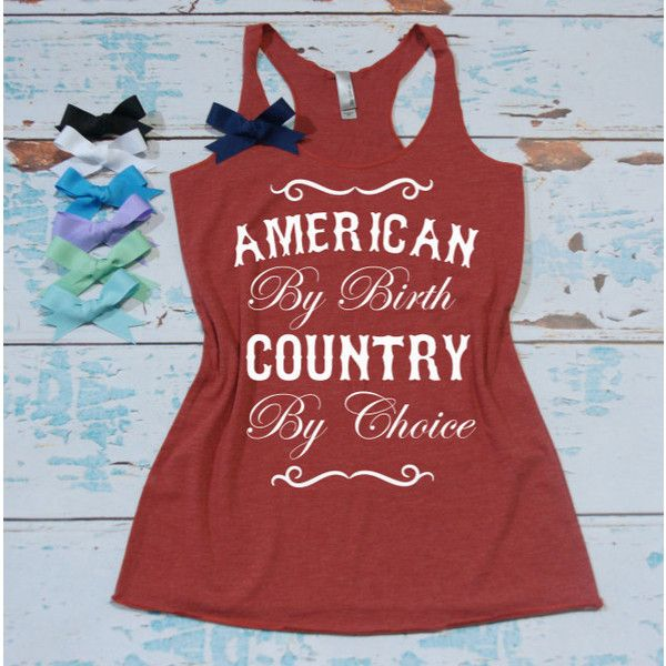 American by Birth Country by Choice Flowy Eco Tri-Blend Women's Tank... ($22) ❤ liked on Polyvore featuring tops, tanks, white, women's clothing, white shirt, bow tank top, white bow top, americana tank top and bow shirt