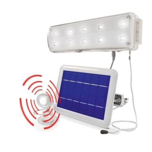 Lámpara solar 10 Leds con sensor movimiento para casetas y cobertizos