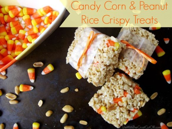 Great recipe idea, and easy! http://www.lifewiththecrustcutoff.com/candy-corn-peanut-rice-crispy-treats/