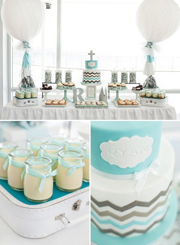 like the large round balloons  teal and silver chevron striped christening desserts table