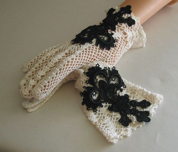 Vintage Crochet Gloves with Antique Lace