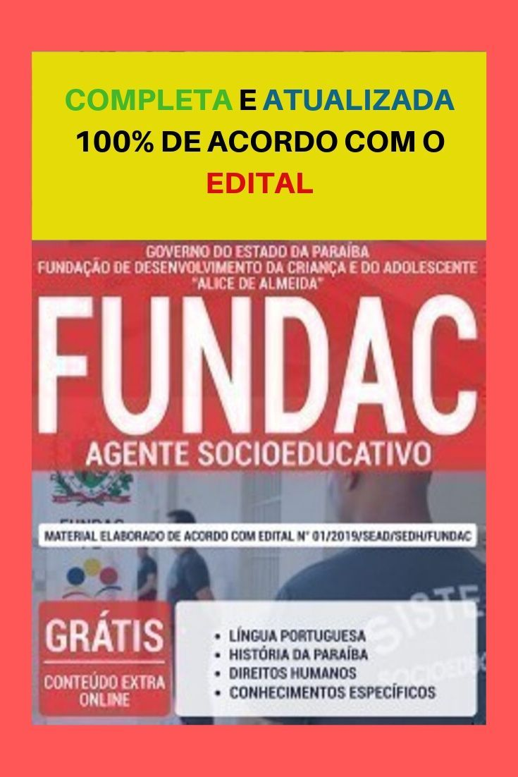 Apostila Concurso Fundac Pb 2019 Agente Socioeducativo Com