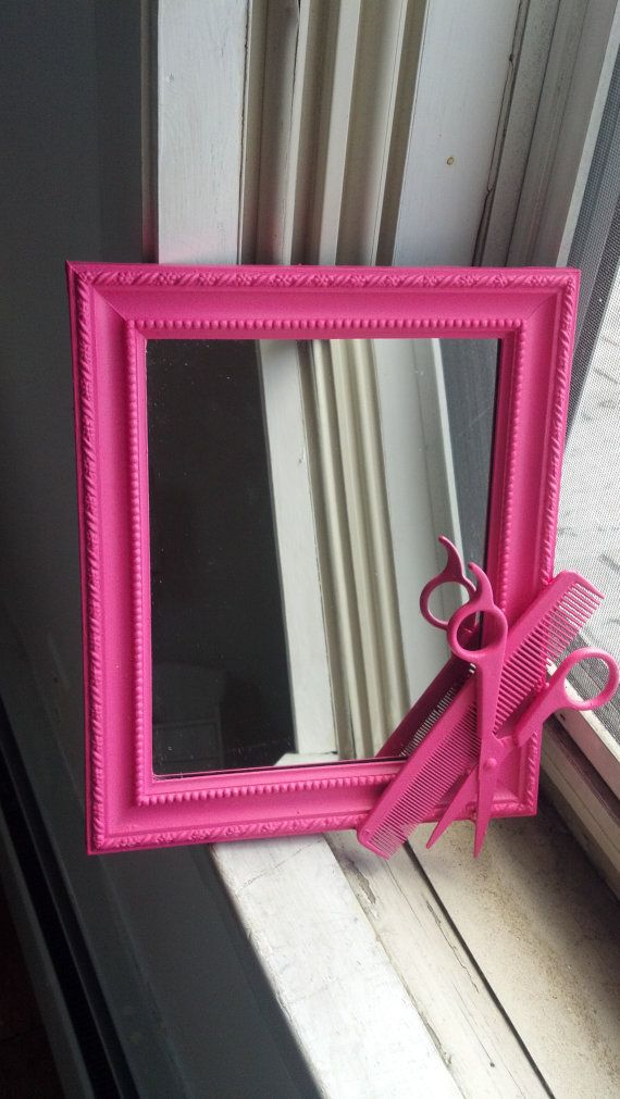 pink hairstylist shears mirror by CheeseCrafty on Etsy