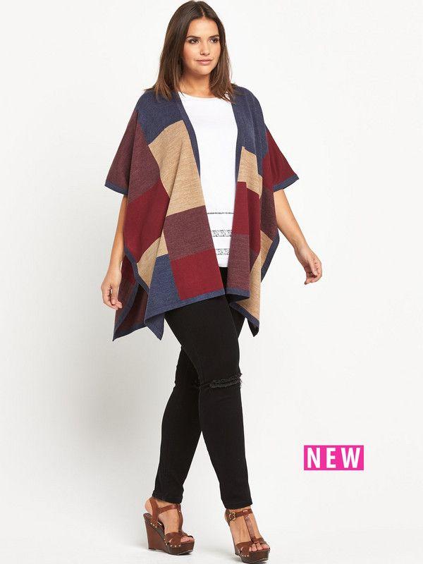 So Fabulous Colour Block Blanket Cape | very.co.uk