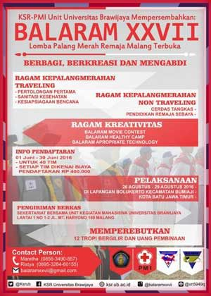 BALARAM XXVII 2016 Lomba Palang Merah Remaja Malang Terbuka  DEADLINE: 30 Juni 2016  http://infosayembara.com/info-lomba.php?judul=balaram-xxvii-2016-lomba-palang-merah-remaja-malang-terbuka #BalaramXXVII #PMR #Malang #UniversitasBrawijaya
