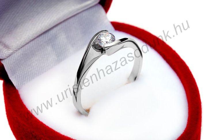 E4FC - 34.950 Ft 14 karátos fehér arany cirkónia köves Eljegyzési Gyűrű 48-60-as méretig azonnal raktárról www.uristenhazasodunk.hu