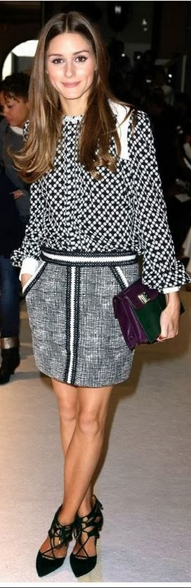 Who made  Olivia Palermo's white print shirt, black print skirt, and green lace up pumps?