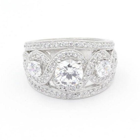 1.0 ct Center Stone Round Cut CZ Engagement Ring, Size 6.5, 925 Sterling Silver, Three-Stones w/ 0.25 ct Side Stones (766)
