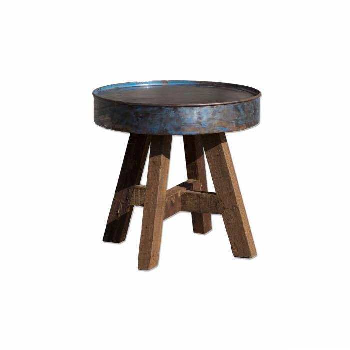 Salontafel Rond Metaal  Description: By-Boo staat bekend om innovatieve en kwalitatieve producten. Dit brengen ze met de Salontafel Rond helemaal naar voren. De tafel is voorzien van een stevig metalen blad waar je je drank en snacks op kwijt kunt. Bijzondere aan deze tafel zijn de stevige houten poten. Behalve dat de tafel er leuk uitziet is hij ook functioneel. Je laat andere woonaccessoires zoals een leuke vaas goed tot hun recht komen door deze op de tafel te zetten. De By-Boo Salontafel…
