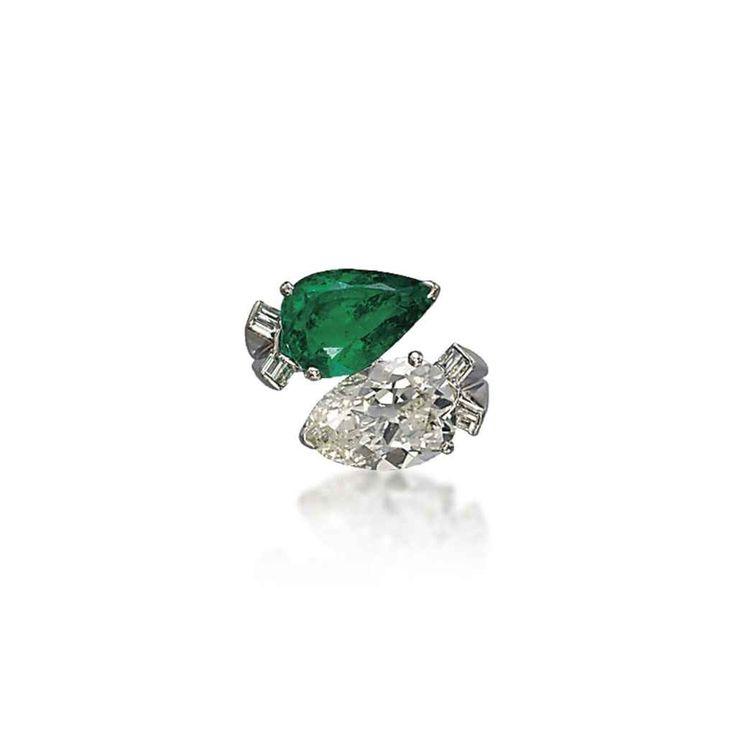 an emerald and diamond u0027toi et moiu0027 ring
