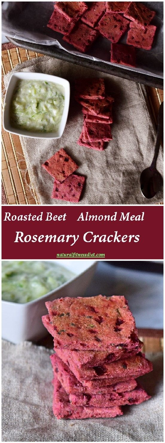 Homemade Roasted Beet Almond Meal Rosemary Crackers, nice appetizer full of healthier ingredients. Seasoned with sea salt and fresh rosemary. #vegan #crackers #homemade #recipe #almond