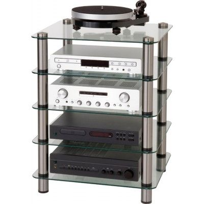 Image of the Optimum Prelude OPT-5000 Hifi Stand with Clear, 6mm Glass and Stainless Steel Finish rods, loaded with with typical hifi equipment