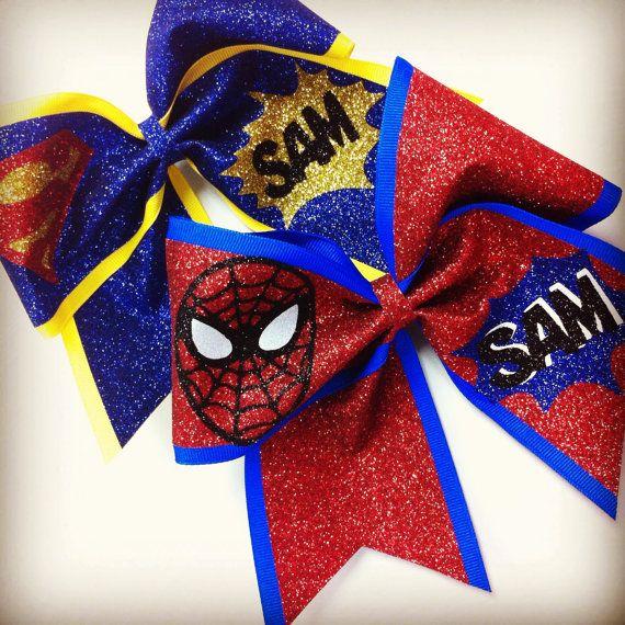 3in. Glitter SpiderMan Superhero Cheer Bow by BowsByTeri on Etsy