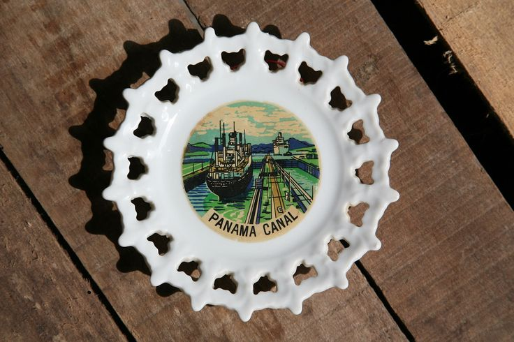 Panama Canal Souvenir Plate, Ship Canal, Atlantic, Pacific, Isthmus of Panama, Trade. by CaffeinatedSquirrel on Etsy