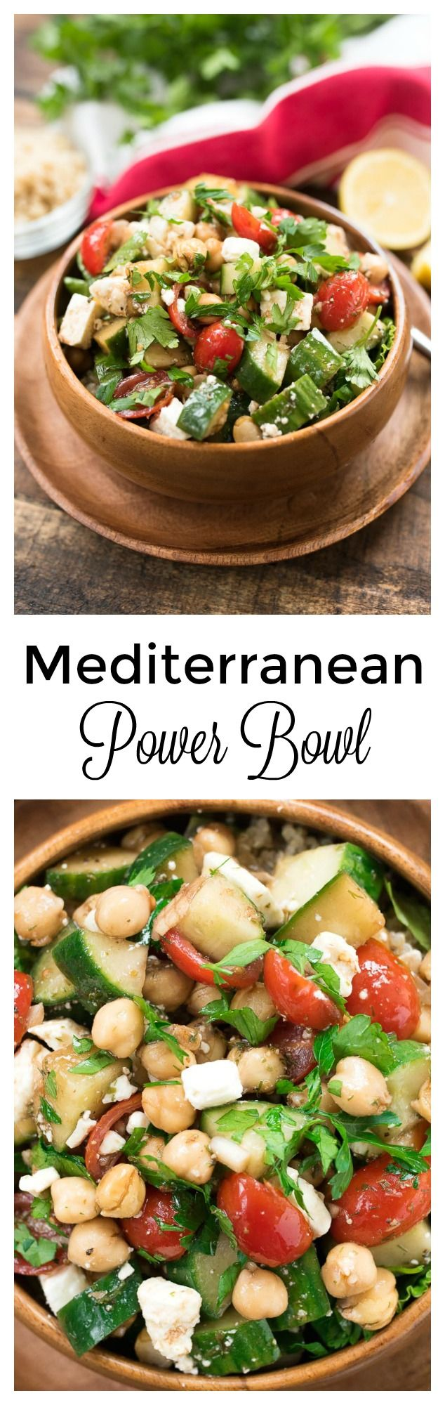 Mediterranean Power Bowl- a plant-based, protein and fiber packed lunch or dinner! | www.nutritiouseats.com