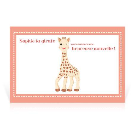 faire part naissance sophie la girafe carte postale cardissime sur un format carte postale. Black Bedroom Furniture Sets. Home Design Ideas