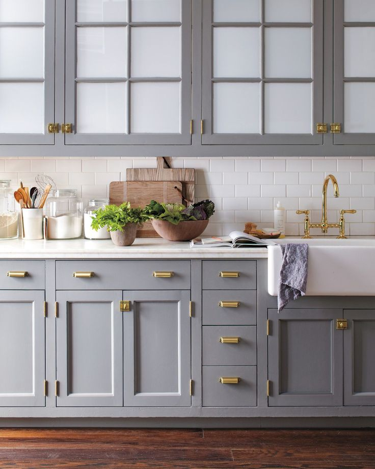 Bedford Brass pulls - home depot | Blue gray kitchen cabinets