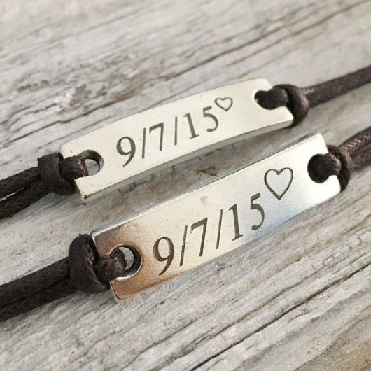 Couples Date Bracelet Anniversary Gift for Couples Anniversary Bracelets for Boyfriend Girlfriend